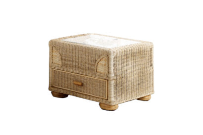 Brook-wicker-cane-rattan-conservatory side table with drawer