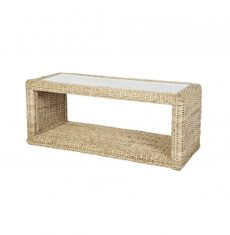 Pebble wicker cane rattan conservatory furniture rectangular coffee table