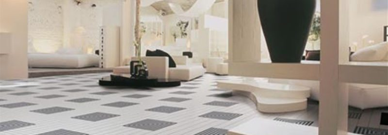 Geometrical stone patterned flooring